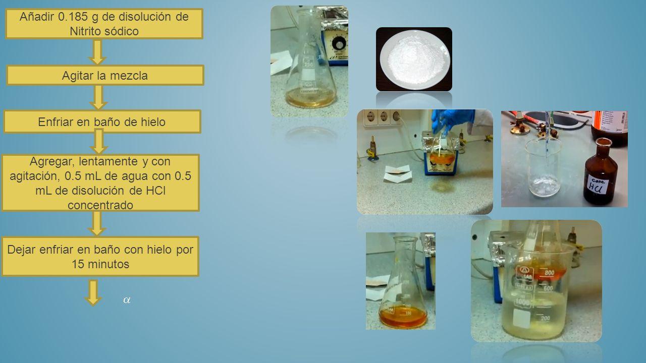 Añadir 0.185 g de disolución de Nitrito sódico