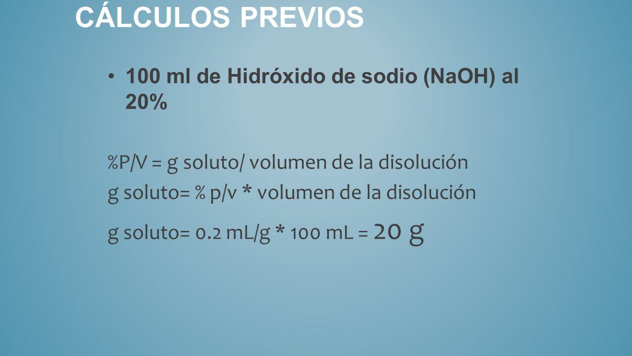 Cálculos previos 100 ml de Hidróxido de sodio (NaOH) al 20%