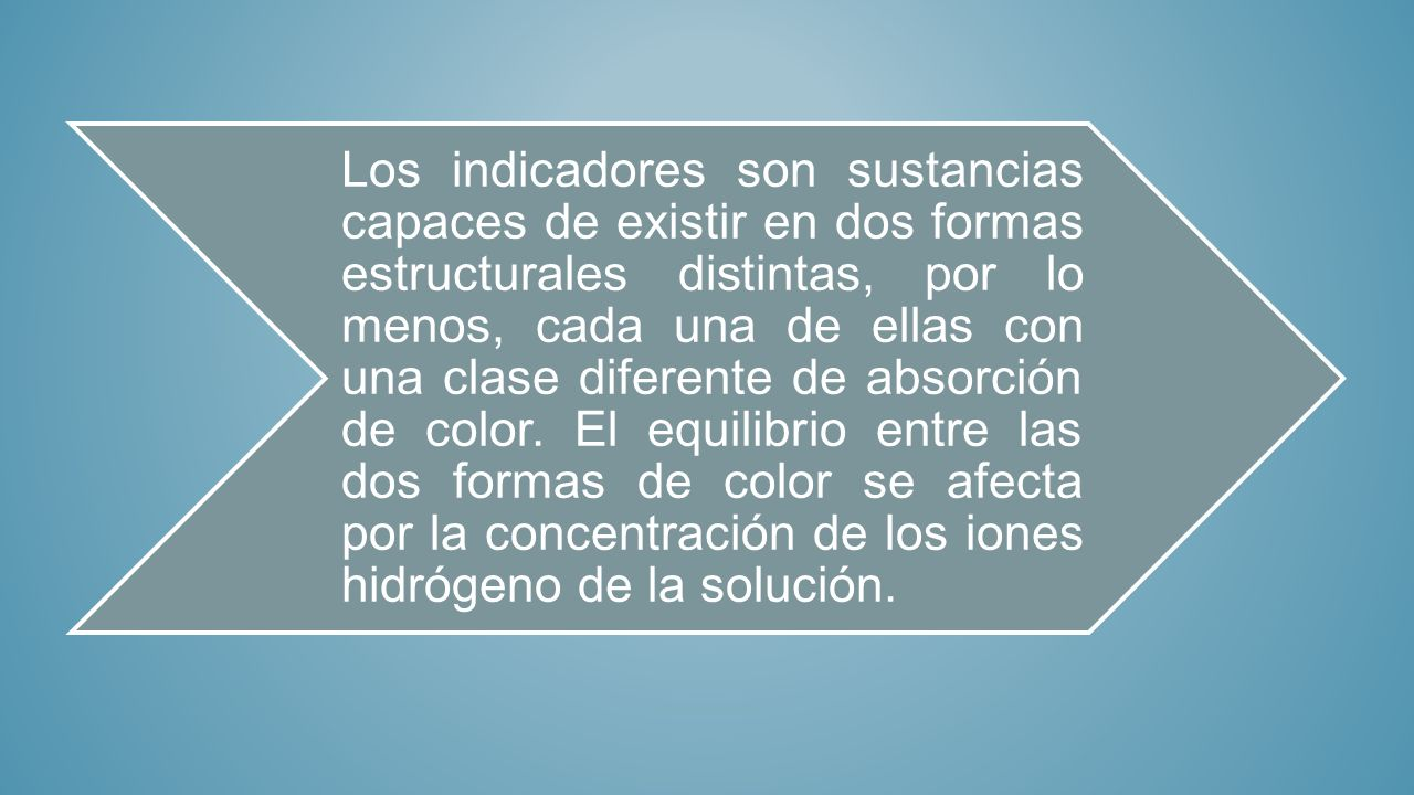 Los indicadores son sustancias capaces de existir en dos formas estructurales distintas, por lo menos, cada una de ellas con una clase diferente de absorción de color.