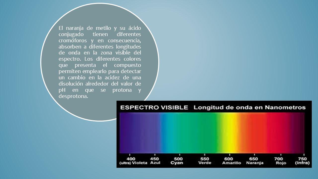 El naranja de metilo y su ácido conjugado tienen diferentes cromóforos y en consecuencia, absorben a diferentes longitudes de onda en la zona visible del espectro.