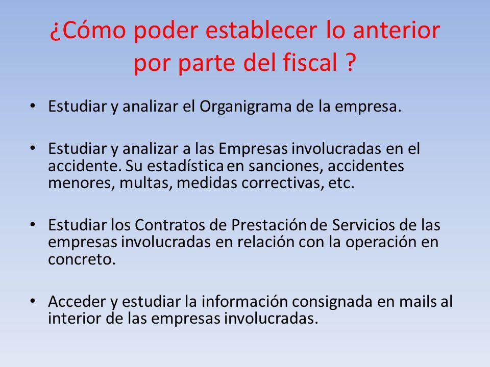 ¿Cómo poder establecer lo anterior por parte del fiscal