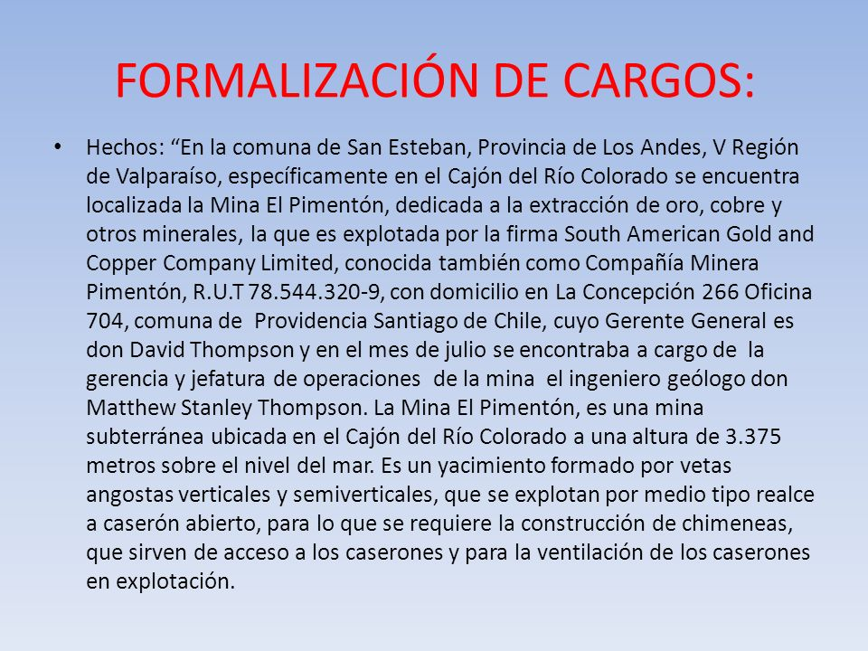 FORMALIZACIÓN DE CARGOS: