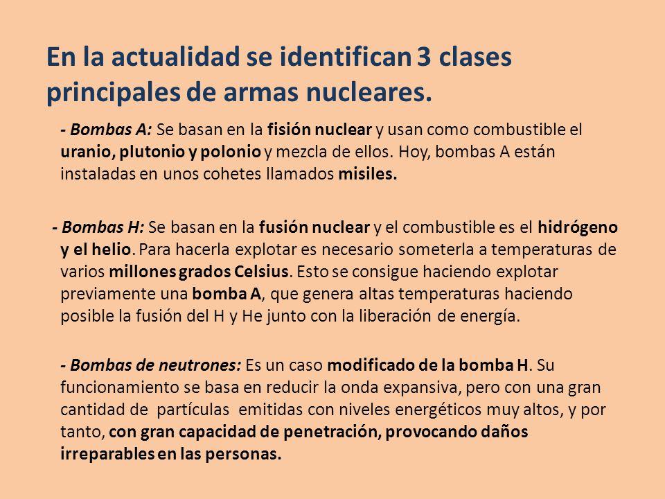 En la actualidad se identifican 3 clases principales de armas nucleares.