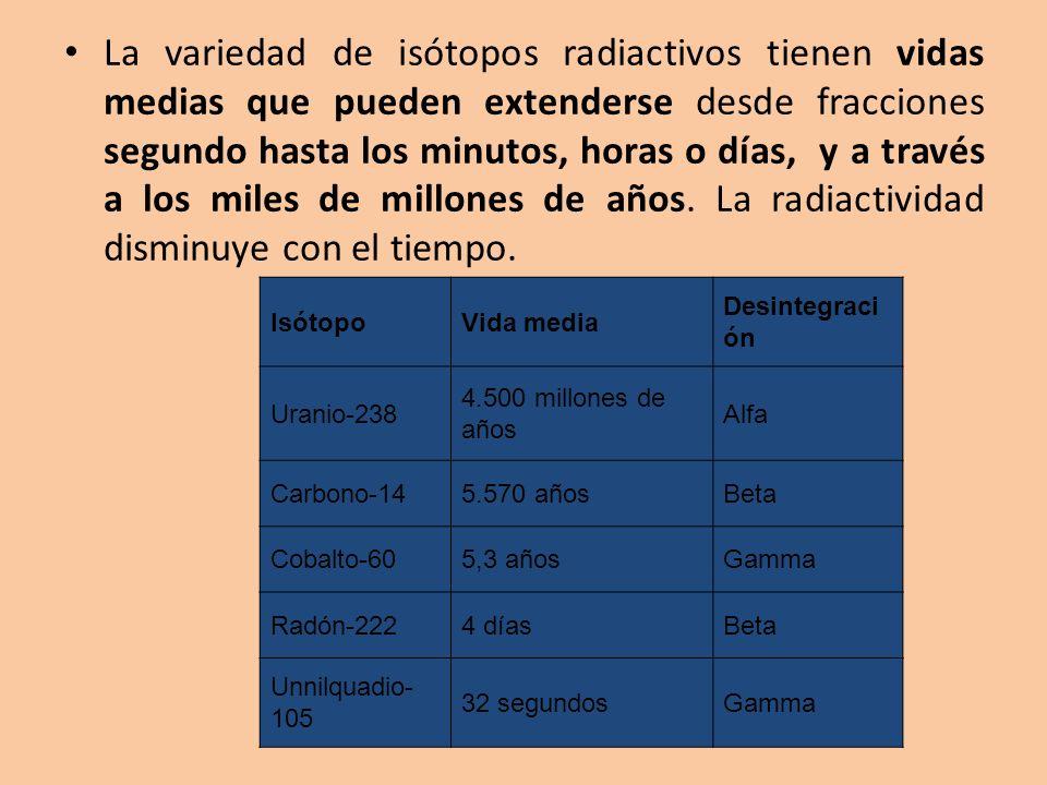 La variedad de isótopos radiactivos tienen vidas medias que pueden extenderse desde fracciones segundo hasta los minutos, horas o días, y a través a los miles de millones de años. La radiactividad disminuye con el tiempo.