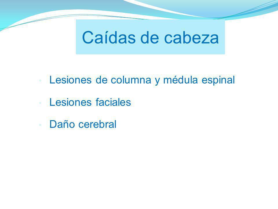 Caídas de cabeza Lesiones de columna y médula espinal