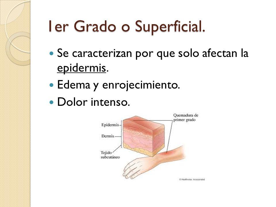 1er Grado o Superficial. Se caracterizan por que solo afectan la epidermis. Edema y enrojecimiento.