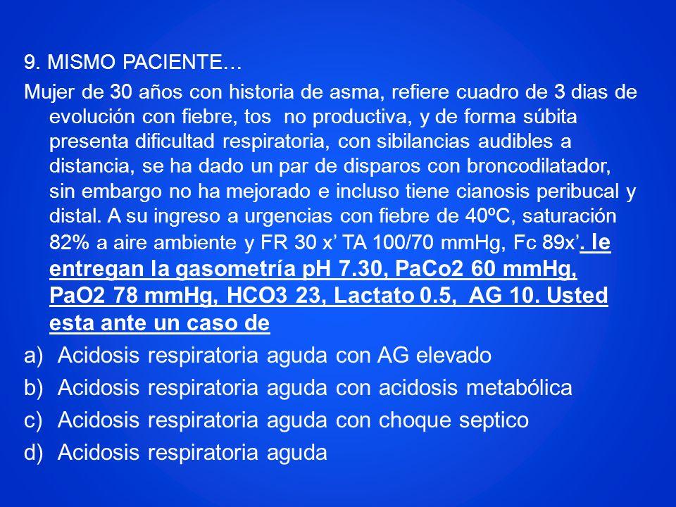 Acidosis respiratoria aguda con AG elevado
