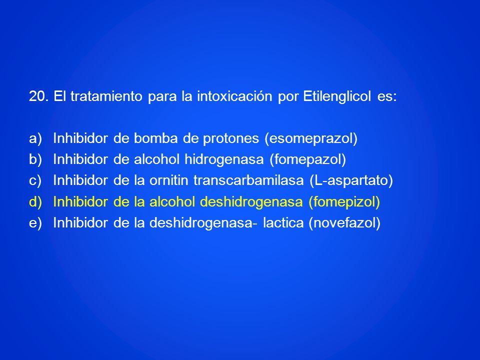 20. El tratamiento para la intoxicación por Etilenglicol es: