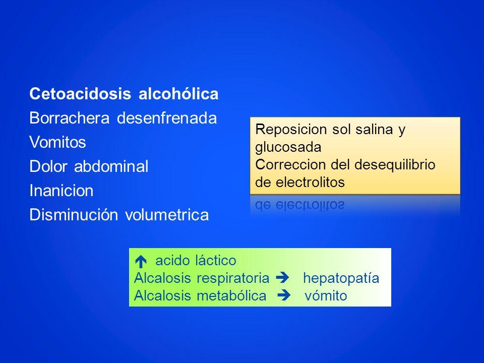 Cetoacidosis alcohólica Borrachera desenfrenada Vomitos Dolor abdominal Inanicion Disminución volumetrica