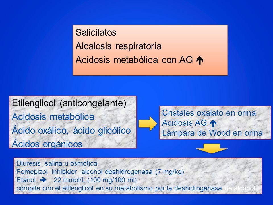 Salicilatos Alcalosis respiratoria Acidosis metabólica con AG 