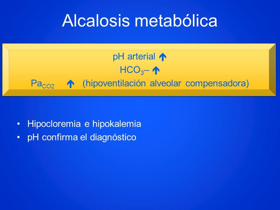 PaCO2  (hipoventilación alveolar compensadora)