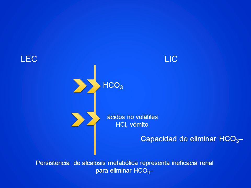 LEC LIC HCO3 Capacidad de eliminar HCO3– ácidos no volátiles