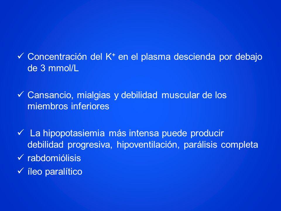 Concentración del K+ en el plasma descienda por debajo de 3 mmol/L