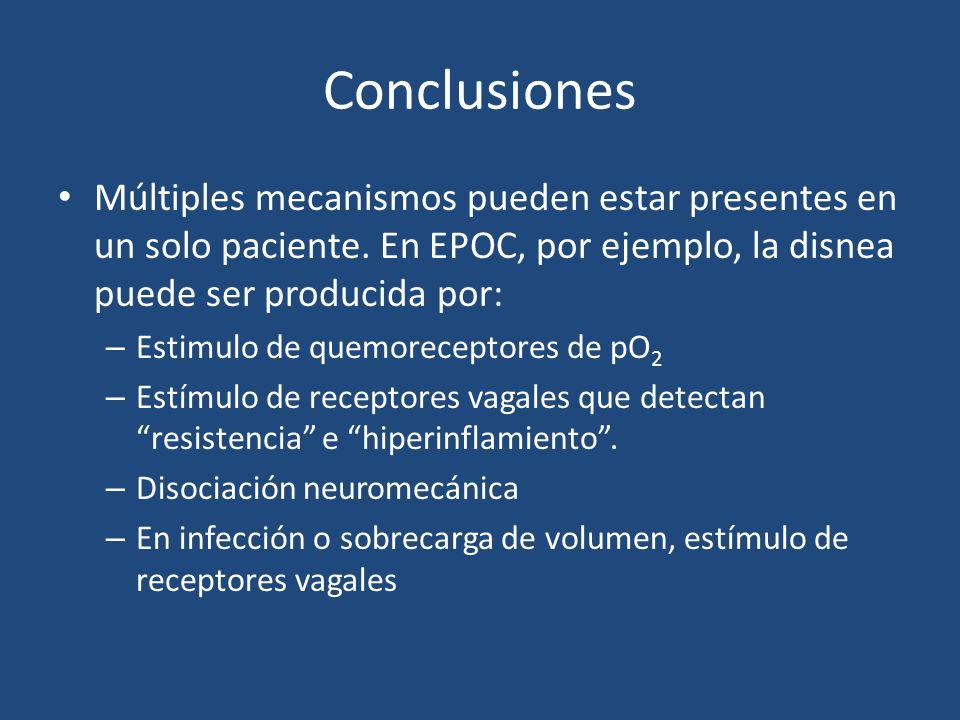 ConclusionesMúltiples mecanismos pueden estar presentes en un solo paciente. En EPOC, por ejemplo, la disnea puede ser producida por: