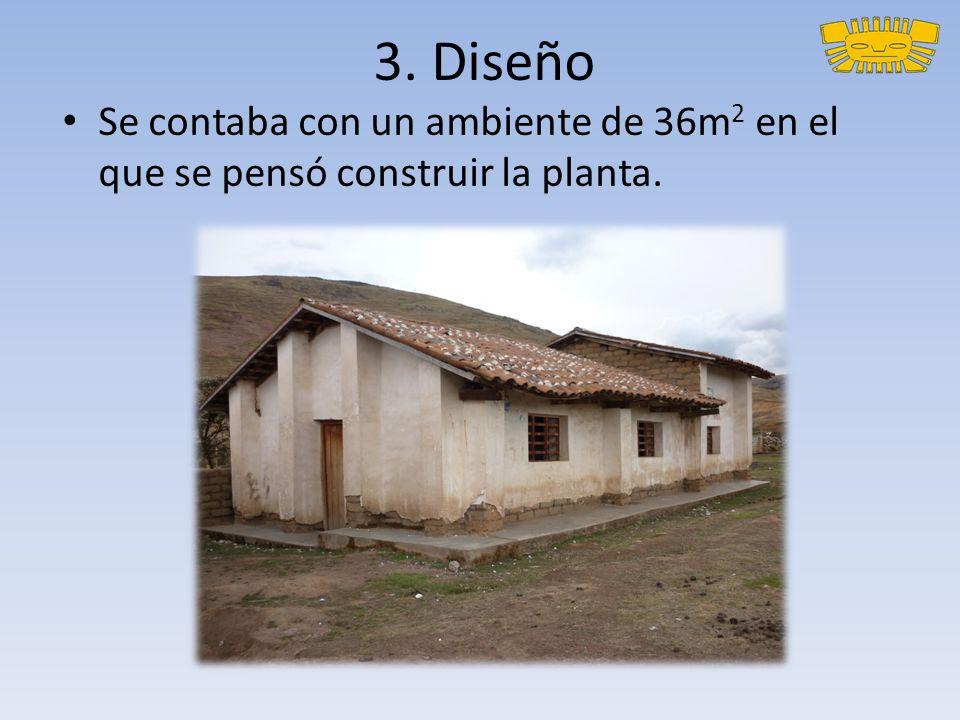 3. Diseño Se contaba con un ambiente de 36m2 en el que se pensó construir la planta.
