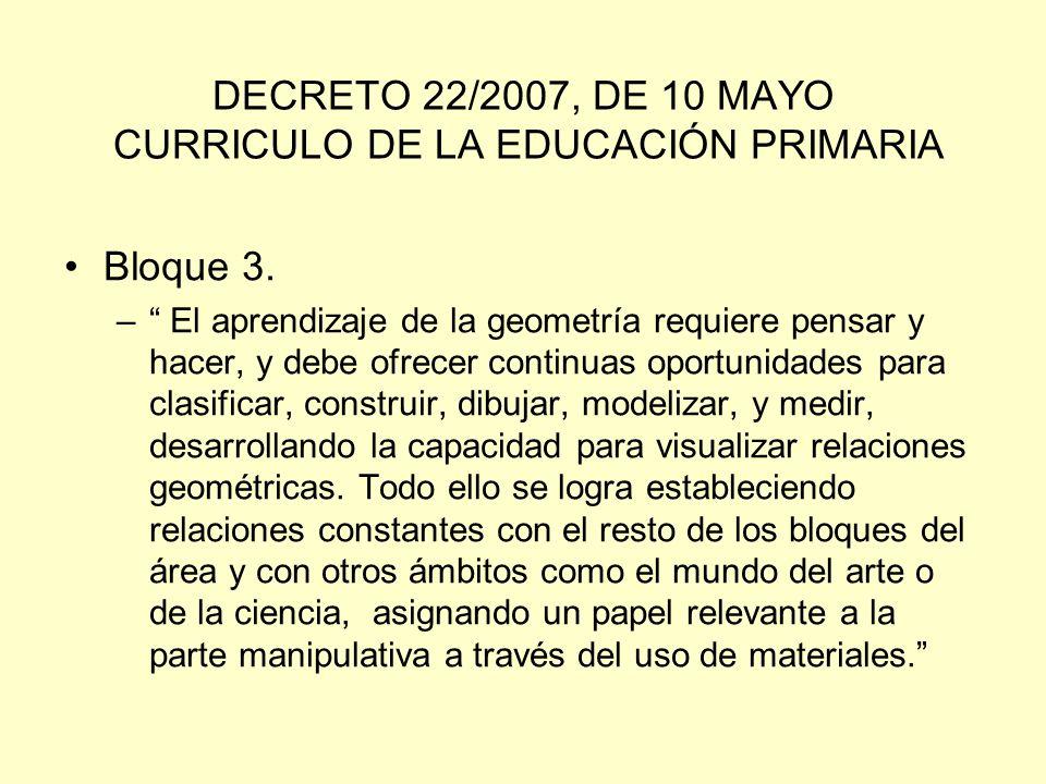 DECRETO 22/2007, DE 10 MAYO CURRICULO DE LA EDUCACIÓN PRIMARIA
