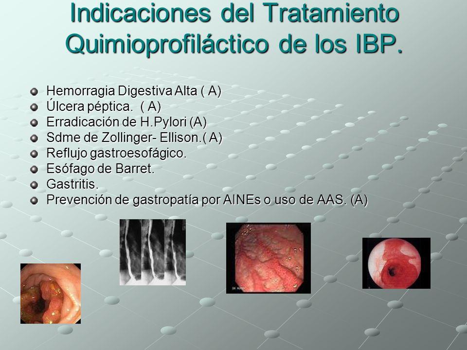 Indicaciones del Tratamiento Quimioprofiláctico de los IBP.