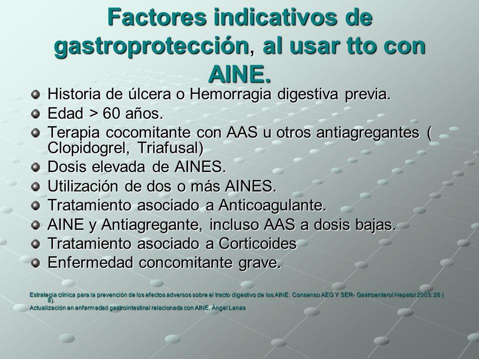 Factores indicativos de gastroprotección, al usar tto con AINE.
