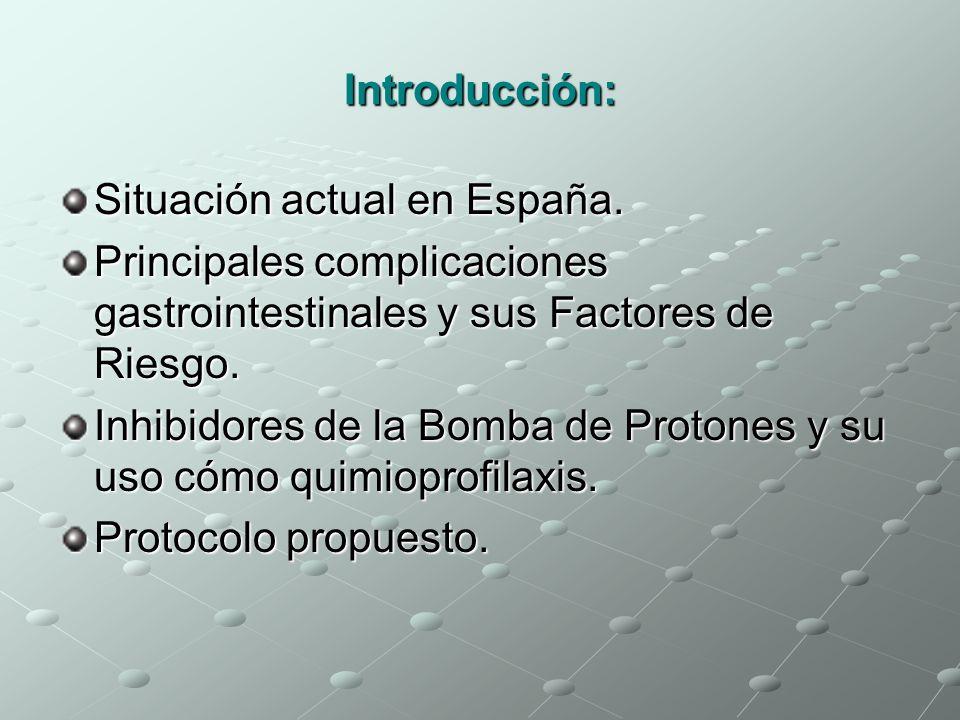 Introducción: Situación actual en España. Principales complicaciones gastrointestinales y sus Factores de Riesgo.