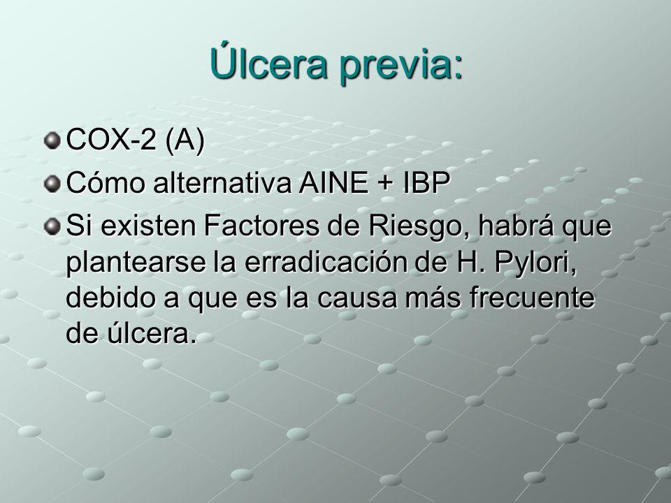 Úlcera previa: COX-2 (A) Cómo alternativa AINE + IBP