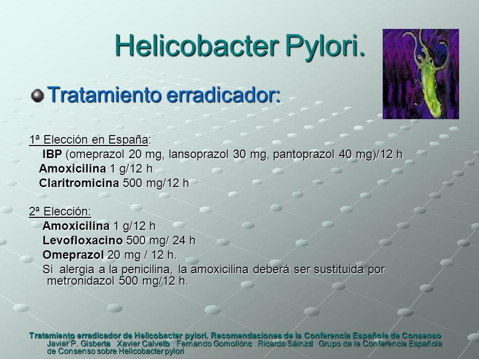 Helicobacter Pylori. Tratamiento erradicador: 1ª Elección en España: