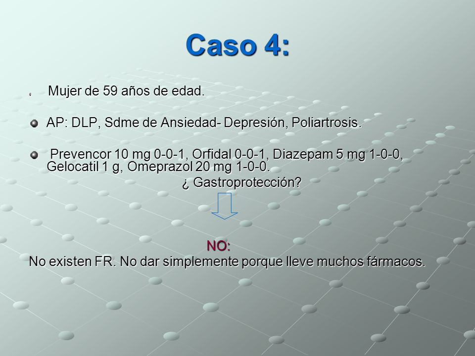 Caso 4: AP: DLP, Sdme de Ansiedad- Depresión, Poliartrosis.