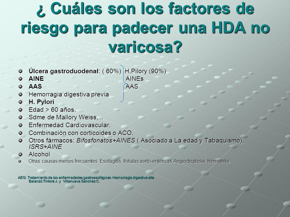 ¿ Cuáles son los factores de riesgo para padecer una HDA no varicosa