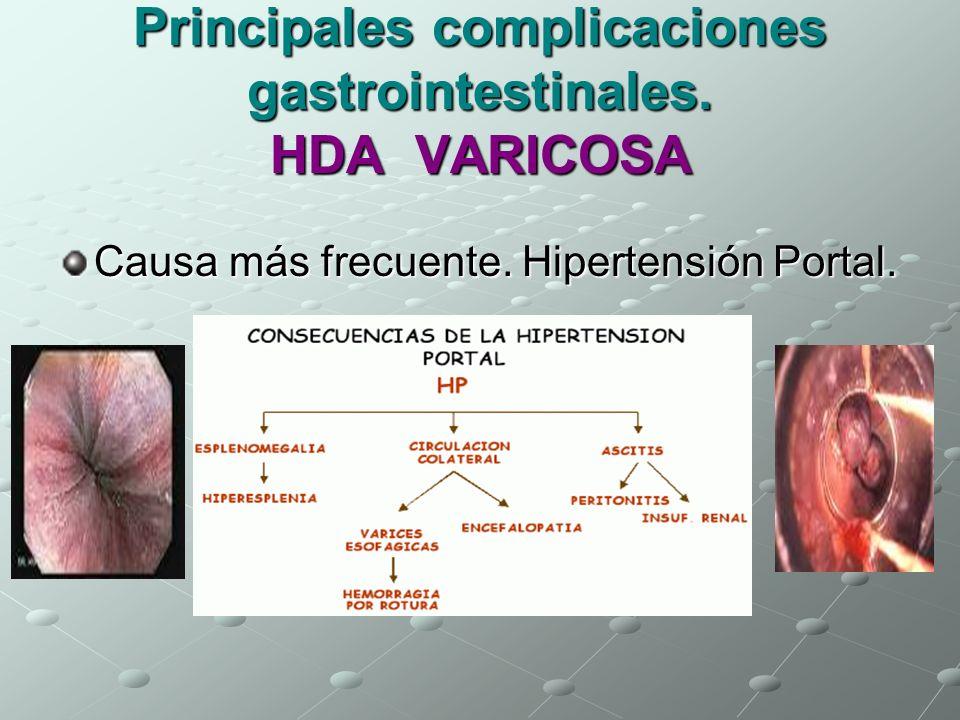 Principales complicaciones gastrointestinales. HDA VARICOSA
