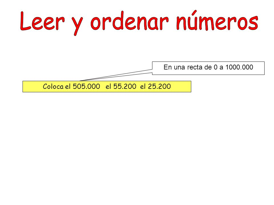 Leer y ordenar números En una recta de 0 a 1000.000