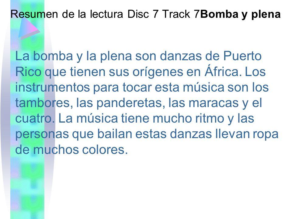 Resumen de la lectura Disc 7 Track 7Bomba y plena