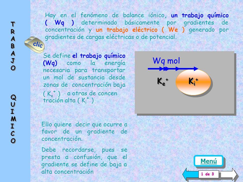 Hay en el fenómeno de balance iónico, un trabajo químico ( Wq ) determinado básicamente por gradientes de concentración y un trabajo eléctrico ( We ) generado por gradientes de cargas eléctricas o de potencial.