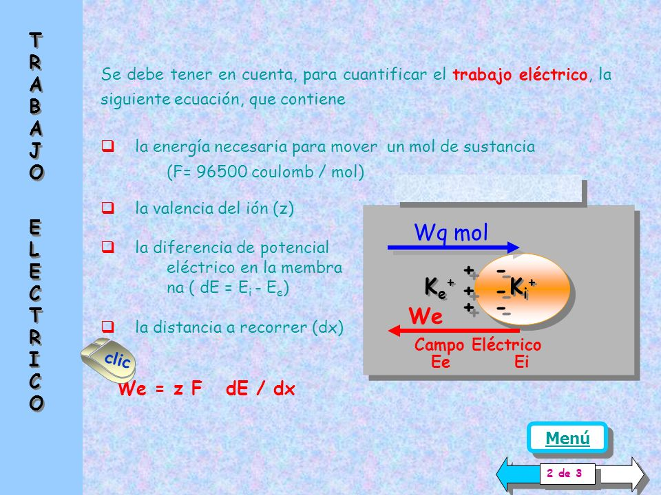 Ke+ Ki+ + - Wq mol We TRABAJO ELECTRICO We = z F dE / dx