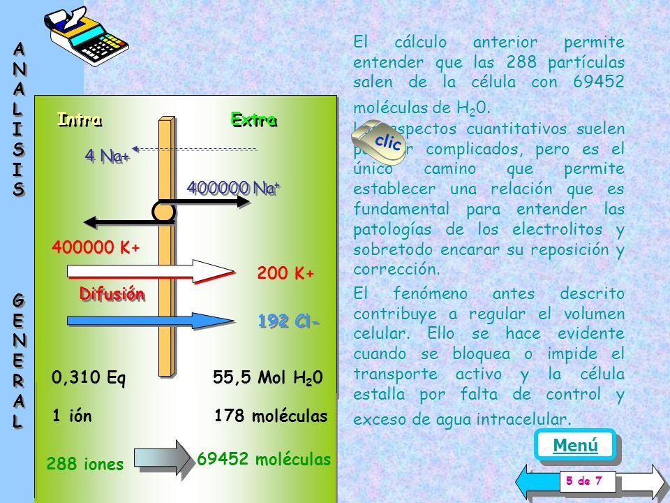 El cálculo anterior permite entender que las 288 partículas salen de la célula con 69452 moléculas de H20.