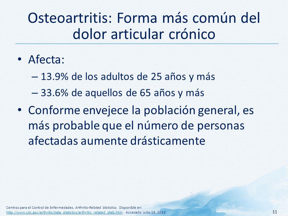 Osteoartritis: Forma más común del dolor articular crónico