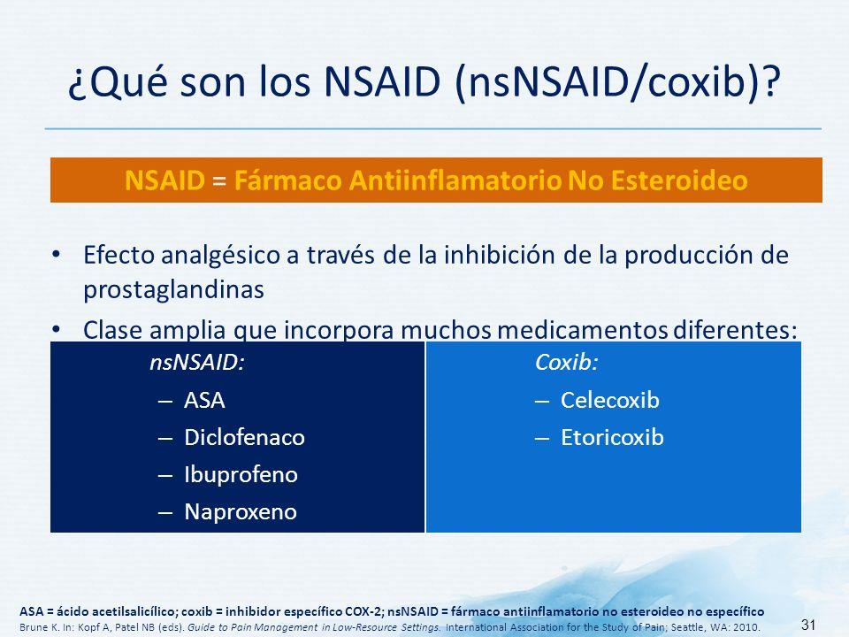 ¿Qué son los NSAID (nsNSAID/coxib)