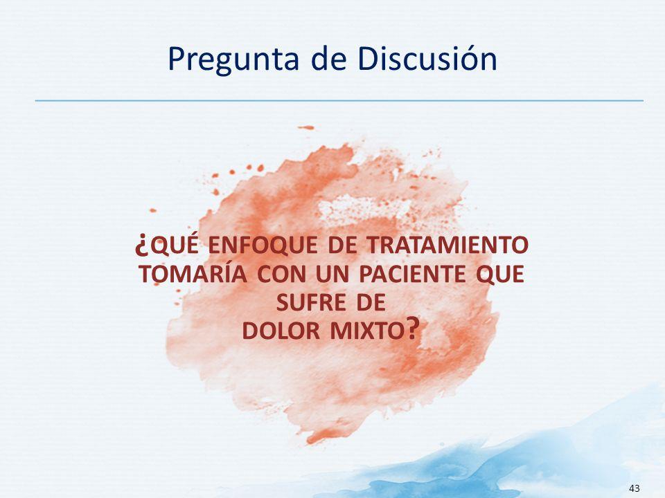 Pregunta de Discusión ¿qué enfoque de tratamiento tomaría con un paciente que sufre de dolor mixto