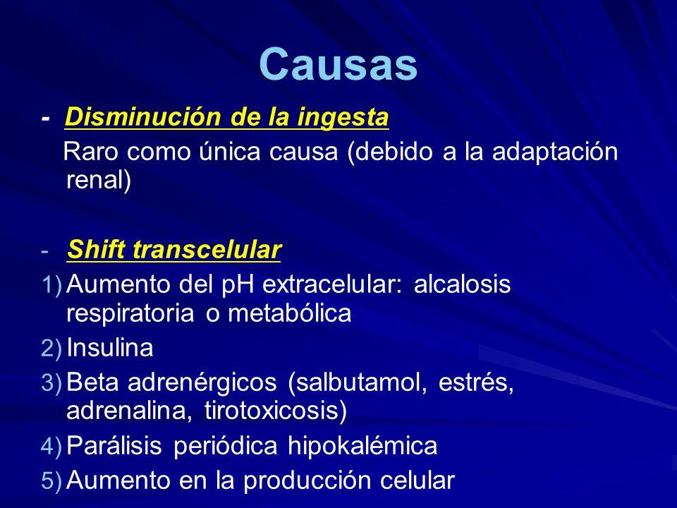 Causas - Disminución de la ingesta