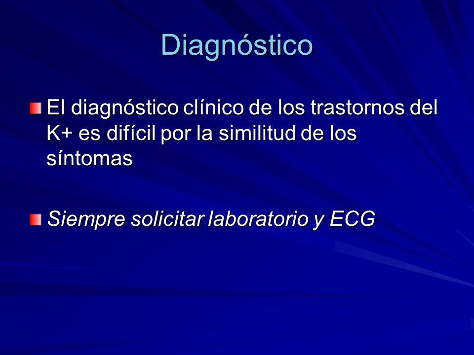 Diagnóstico El diagnóstico clínico de los trastornos del K+ es difícil por la similitud de los síntomas.