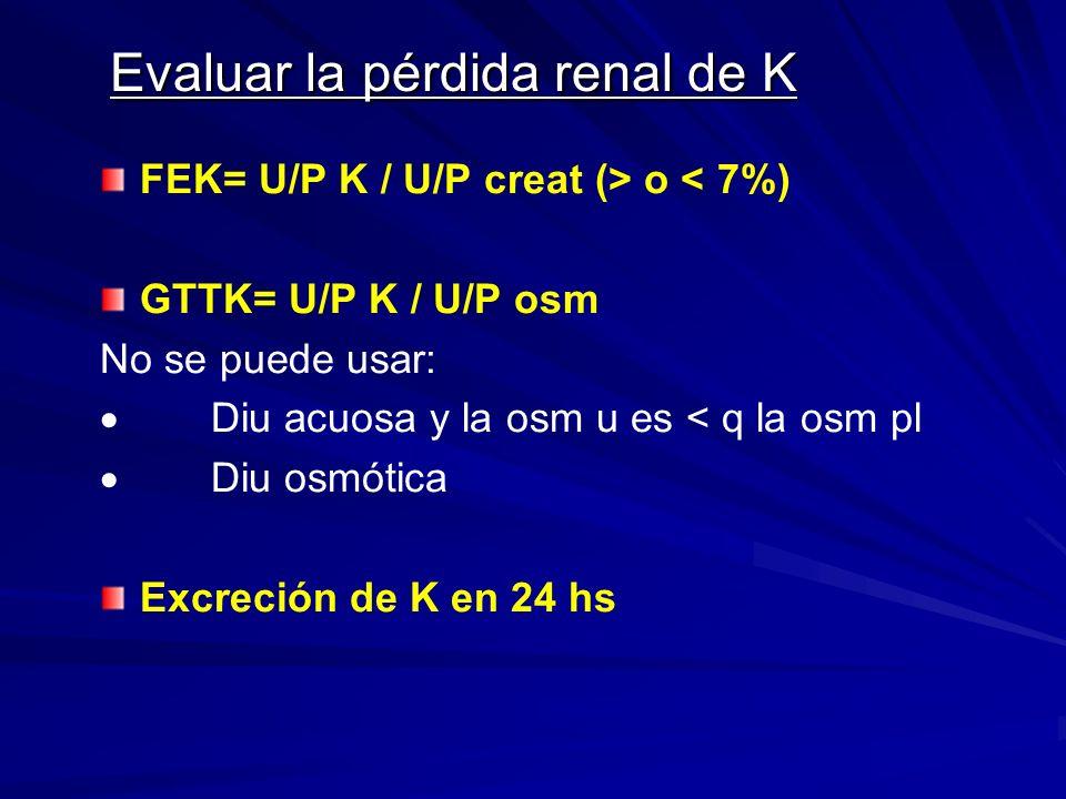 Evaluar la pérdida renal de K