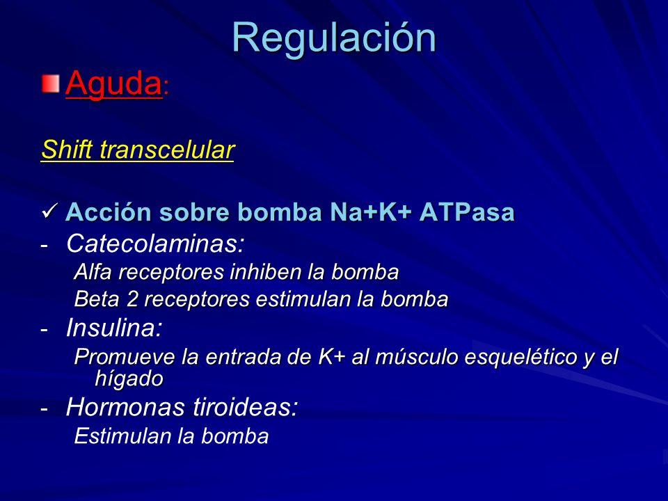 Regulación Aguda: Shift transcelular Acción sobre bomba Na+K+ ATPasa