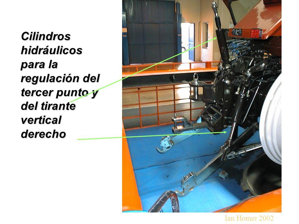 Cilindros hidráulicos para la regulación del tercer punto y del tirante vertical derecho