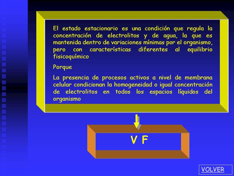 El estado estacionario es una condición que regula la concentración de electrolitos y de agua, la que es mantenida dentro de variaciones mínimas por el organismo, pero con características diferentes al equilibrio fisicoquímico