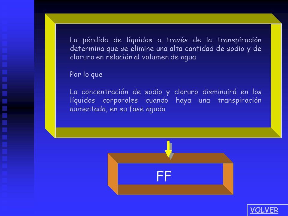 La pérdida de líquidos a través de la transpiración determina que se elimine una alta cantidad de sodio y de cloruro en relación al volumen de agua