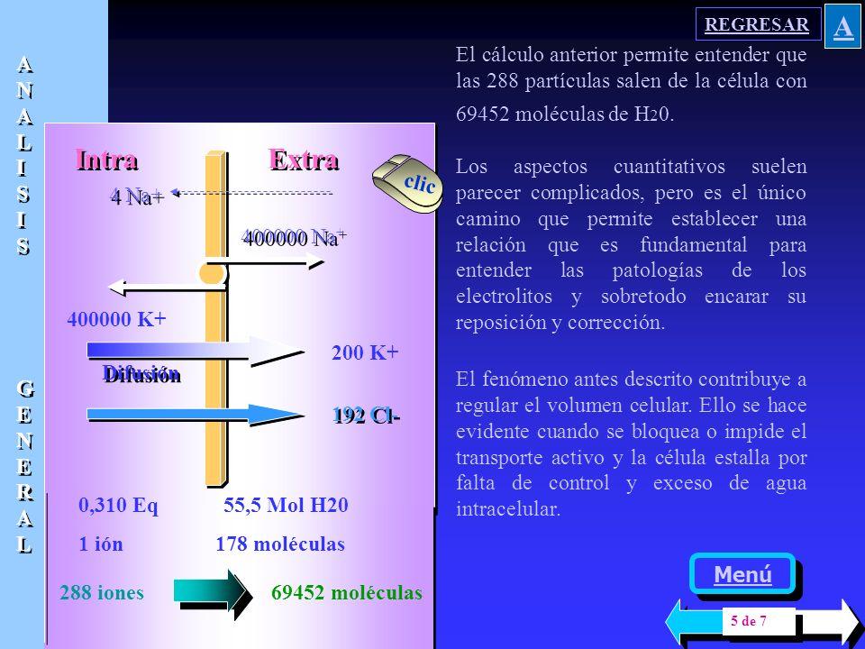 REGRESAR A. El cálculo anterior permite entender que las 288 partículas salen de la célula con 69452 moléculas de H20.