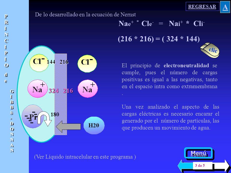 A Nae+ * Cle- = Nai+ * Cli- (216 * 216) = ( 324 * 144) 324 216