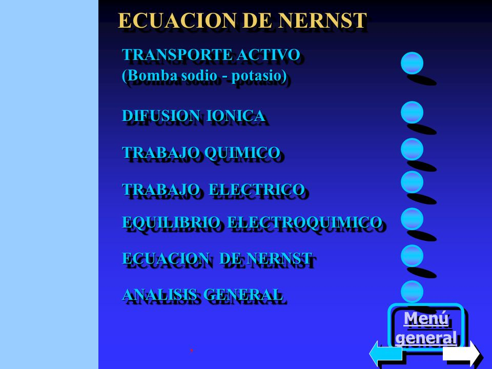 ECUACION DE NERNST TRANSPORTE ACTIVO (Bomba sodio - potasio)