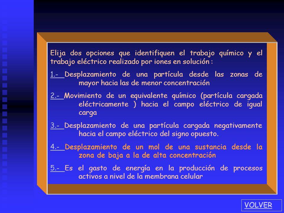 Elija dos opciones que identifiquen el trabajo químico y el trabajo eléctrico realizado por iones en solución :