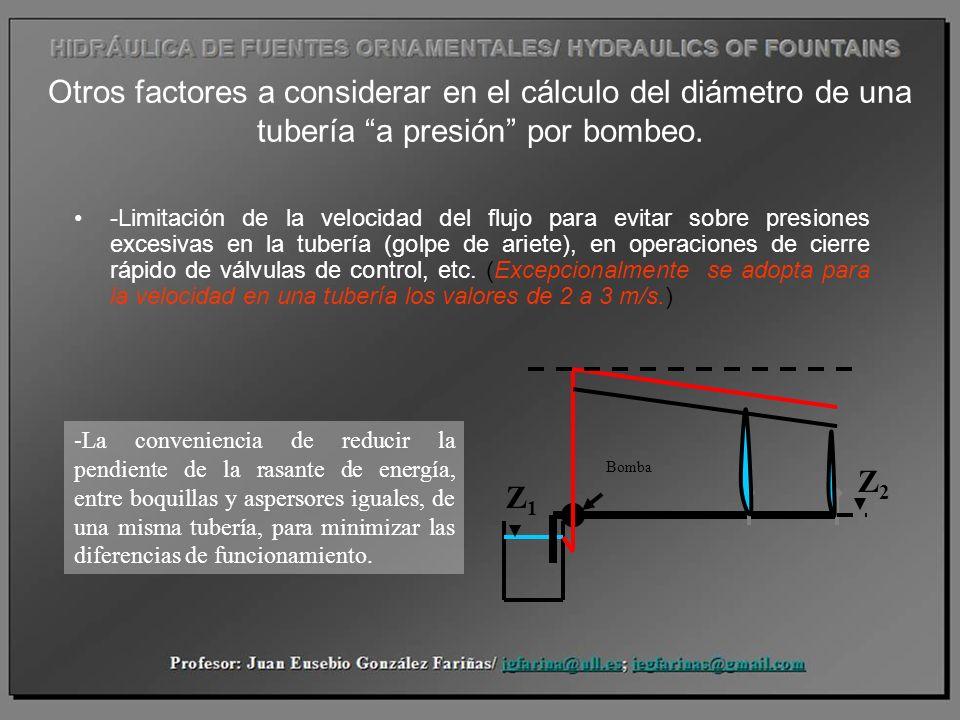 Otros factores a considerar en el cálculo del diámetro de una tubería a presión por bombeo.