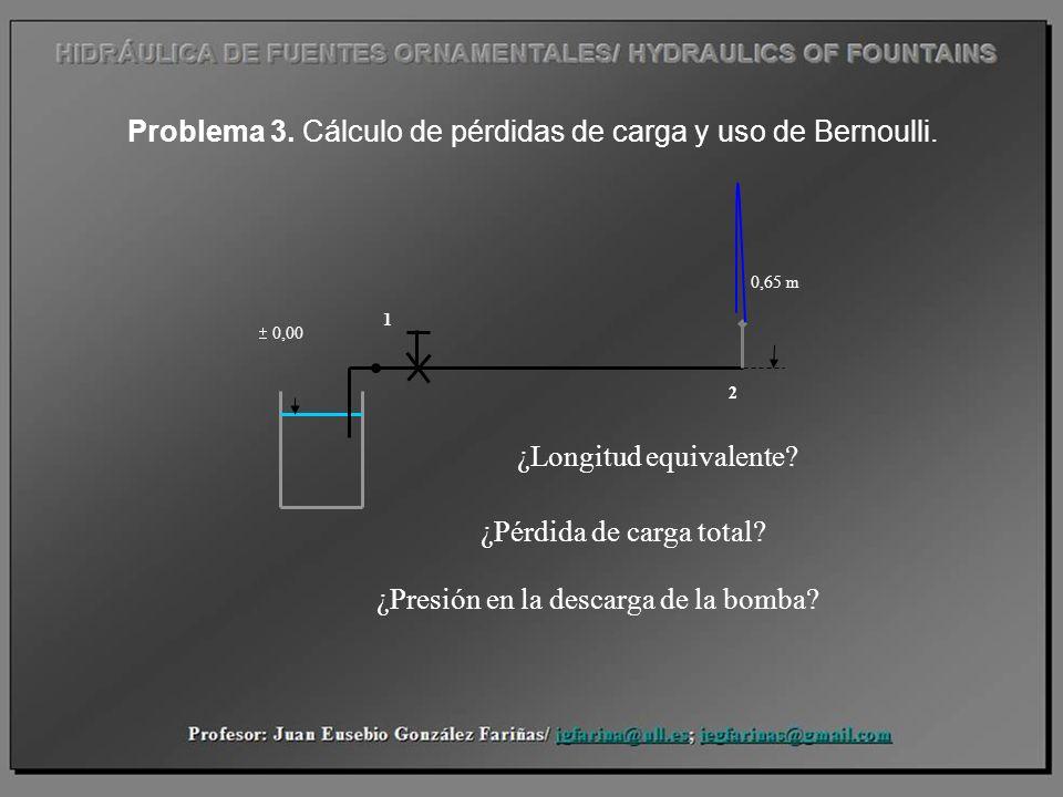 Problema 3. Cálculo de pérdidas de carga y uso de Bernoulli.