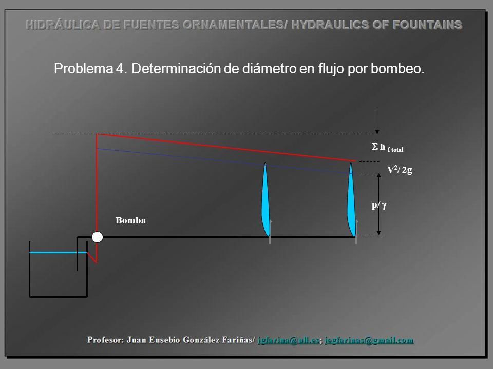 Problema 4. Determinación de diámetro en flujo por bombeo.